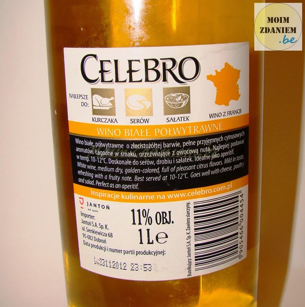 białe wino celebro etykieta z tyłu